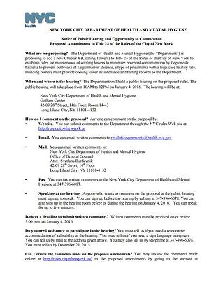 NYC DOHMH Notice of Public Hearing for Proposed Ammendments to Title 24 Regarding Cooling Towers