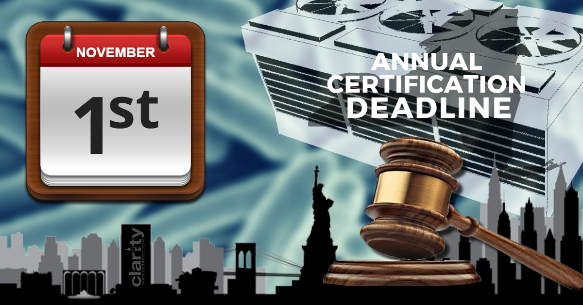 November 1st Deadline for Annual Certification of NY Cooling Towers
