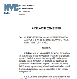 NYC Department of Health Order of the Commissioner Cooling Tower Disinfection resized 600