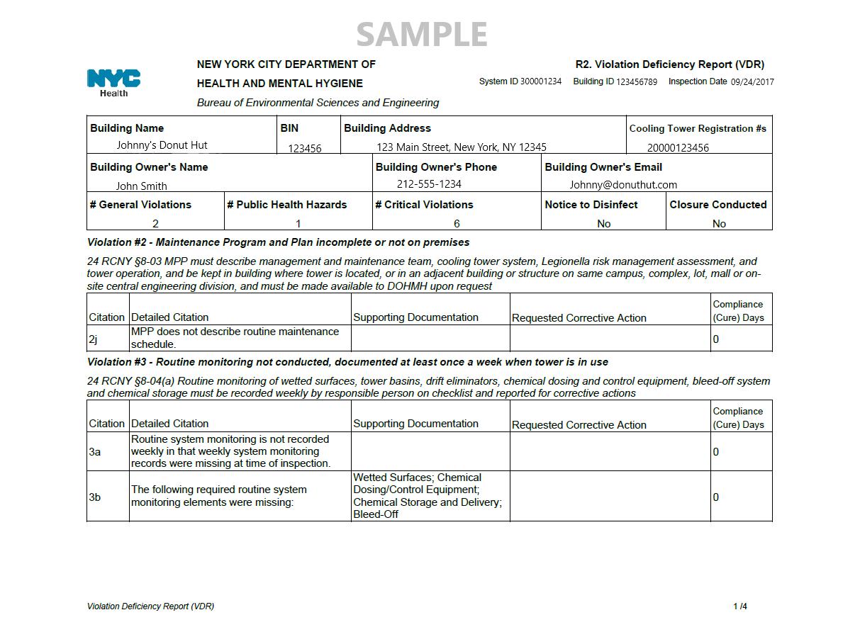 Cooling Tower VDR Violation Deficiency Report Sample
