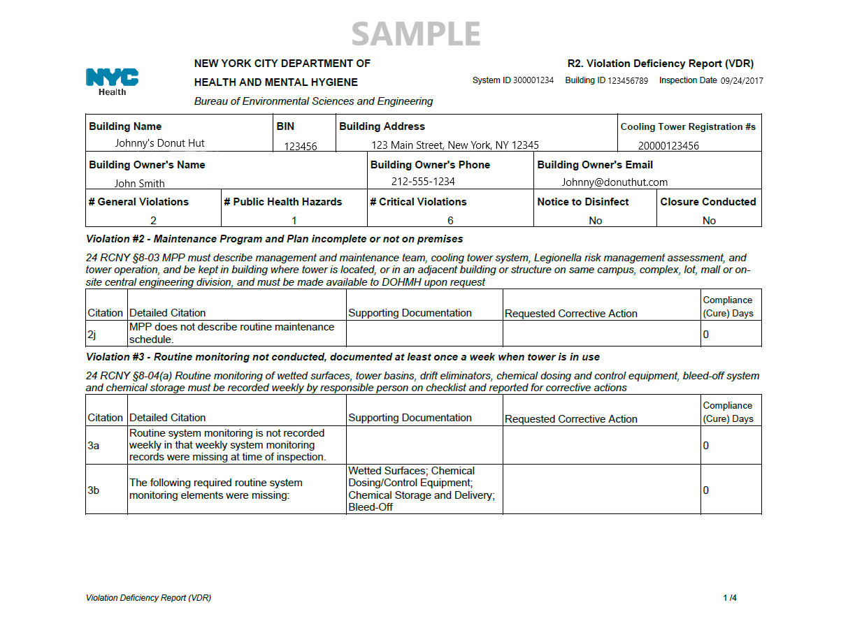 Cooling Tower VDR Violation Deficiency Report Sample